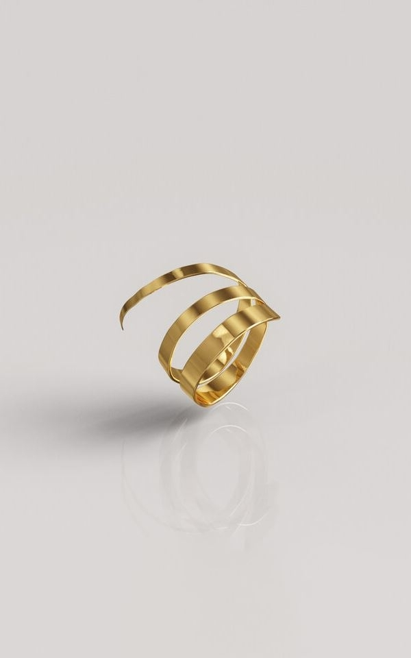 Ring Hammered Triple Gold