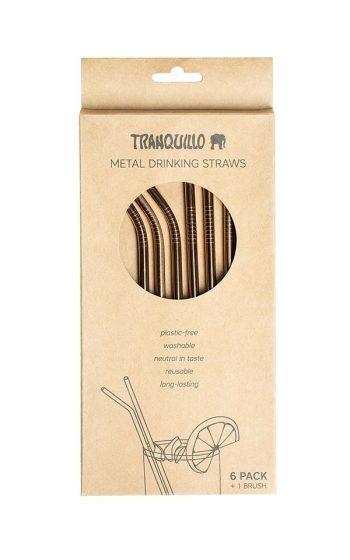 Straw Set of 6 - Metal Rosegold
