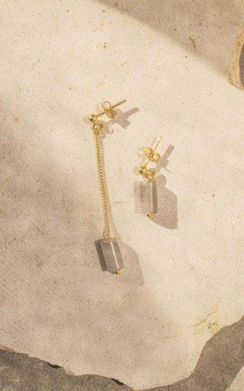 Earrings Asymmetric Stone